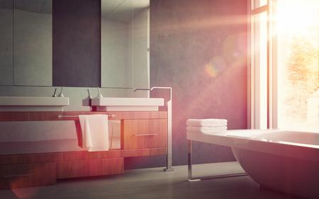 bañarse: Sink Elegante y bañera Dentro de un diseño moderno Hogar Baño, Iluminado por la luz del sol por la ventana de cristal. Foto de archivo