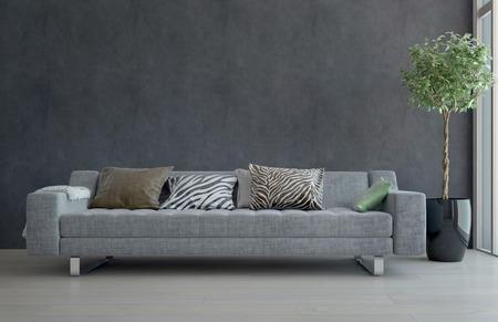 huella animal: Contempor�neo Gray Sof� con cojines Animal Print en escasamente decorado la sala con Planta de tiesto Foto de archivo