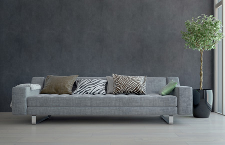 3d apartment: Contemporary Gray Sofa with Animal Print Cushions in Sparsely Decorated Living Room with Potted Plant