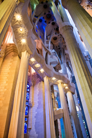 sagrada familia: Low Angle View of Unusual Architectural Interior of Sagrada Familia Church, Designed by Antoni Gaudi, Barcelona, Spain - Detail of Pillars and Ceiling