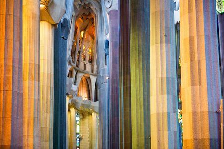 Detail of Pillars and Architectural Interior in Colorful Lighting, Sagrada Familia Church, Designed by Antoni Gaudi, Barcelona, Spain