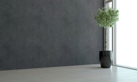 home corner: Corner view of an empty room with ceiling to floor view window, dark grey wall and a potted topiary tree in an architectural background. 3d Rendering.