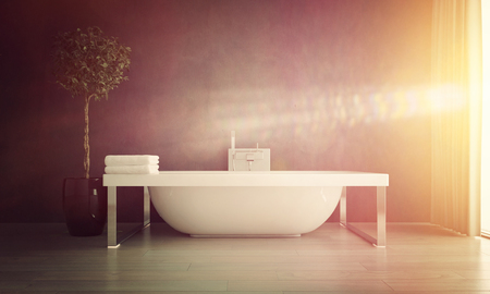 free standing: Bright Sunlight Streaming Through Window of Modern Bathroom with Contemporary Free Standing Bathtub with Potted Plant