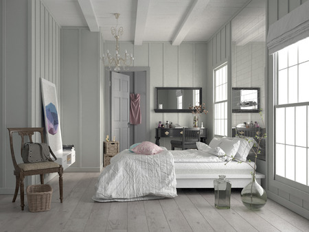 Stylish modern white monochrome bedroom interior with a high ceiling, double window, parquet floor and large queen size bed Banque d'images