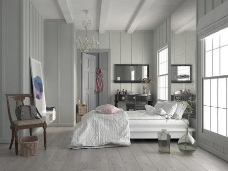 Stilvolle moderne weiße monochrome Schlafzimmer Interieur mit einer hohen Decke, Doppel-Fenster, Parkettboden und großen Queen-Size Bett