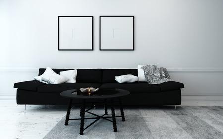 Spärlich dekoriert modernen Wohnzimmer mit schwarz Sofa, Couchtisch, und Kunstwerk hängt an der Wand mit weißem Dekor Akzente Lizenzfreie Bilder
