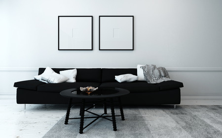 seating furniture: Sparsely Decorated Modern Living Room with Black Sofa, Coffee Table, and Artwork Hanging on Wall with White Decor Accents Stock Photo