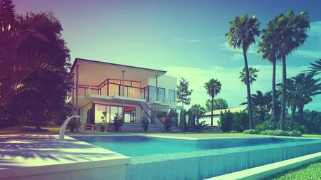 inground: Exterior of Luxury Home - Rear View from Back Yard Showing In-Ground Swimming Pool, Palm Trees, and Two Storey House with Glass Balconies. 3d Rendering.