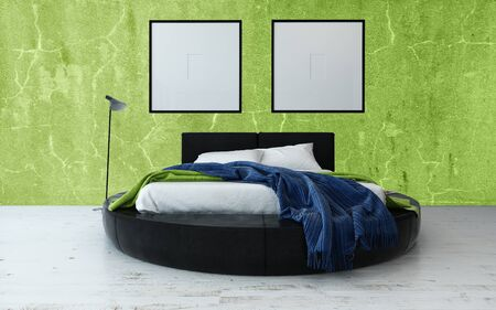 bedclothes: Round Bed and Floor Lamp in Modern Bedroom with Green Walls and Minimalist Framed Artwork Hanging on Wall