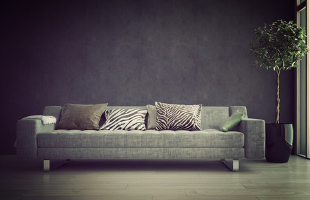 Illuminated sofa in a living room interior bathed in a soft glow offering a comfortable tranquil place to relax
