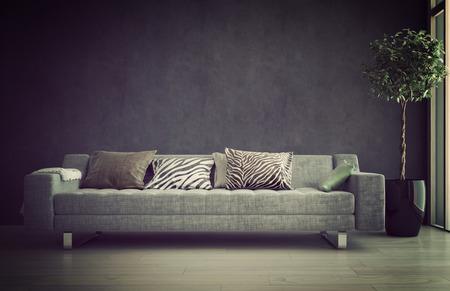 impresión: Sofá iluminado en un salón interior bañado en un resplandor suave que ofrece un lugar tranquilo cómodo para relajarse