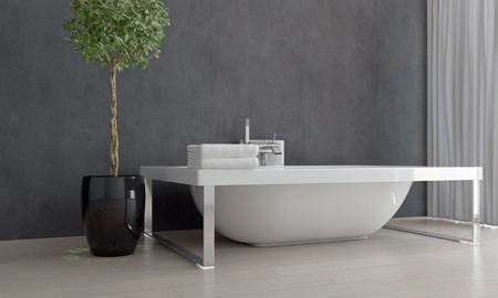 free standing: Contemporary Design White Bathtub Free Standing in Sparsely Decorated Bathroom with Potted Plant Stock Photo