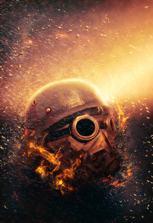 Horrific Soldier wearing Gas Mask and Helmet in an Apocalypse War scenario with fire flames and rain in the Background