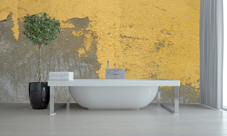 Bathroom interior with feature grunge yellow wall with peeling flaking paint and a freestanding bathtub with potted tree in front of floor to ceiling windows with grey blinds. 3d Rendering.