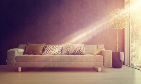 homely: Bright glowing beam of sunlight falling on a comfy sofa and potted tree in a homely living room interior