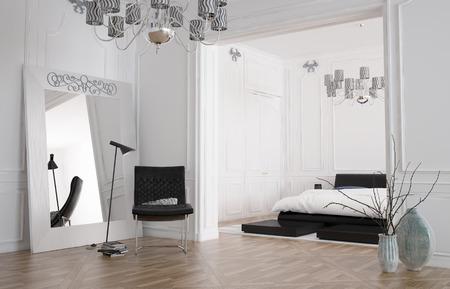 Kronleuchter Für Schlafzimmer ~ Minimalist geräumige schlafzimmer interieur mit großem spiegel