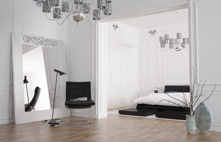 uncarpeted: Minimalist spacious bedroom interior with large mirror standing against the wall reflecting the room and a double bed in a recessed alcove, chandelier and parquet floor. 3d rendering. Stock Photo
