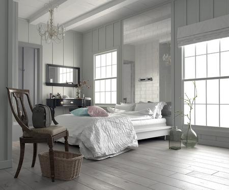 Große, geräumige modernen weißen Schlafzimmer Interieur mit einem großen Doppelbett durch zwei Fenster, Schminktisch und Spiegel, und einem blanken Parkett flankiert