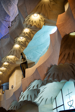 unusual angle: Interior of Unusual Architectural Design Elements of Sagrada Familia Church, Designed by Antoni Gaudi, Barcelona, Spain