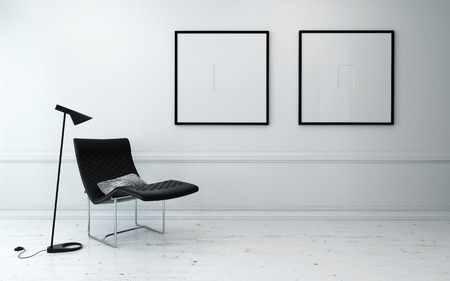Modern Chair and Floor Lamp in Sparsely Decorated Room with Minimalist Framed Artwork Hanging on Wall