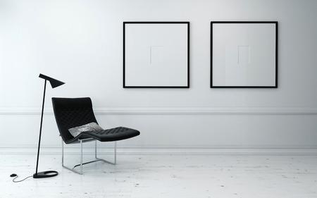 sillon: Silla moderna y lámpara de pie en la sala escasamente decorada con Minimalista ilustraciones capítulo cuelga en la pared