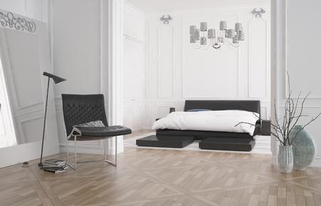 cama: Interior moderno del dormitorio con cama doble empotrado en un hueco con la pared blanca y un piso de parquet de madera, representaci�n 3D