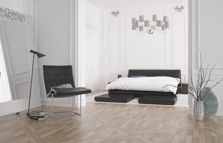 room decorations: Modern bedroom interior with large recessed double bed in an alcove with white wall and a hardwood parquet floor, 3d rendering
