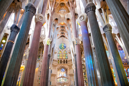 Low Angle View of Pillars and Ceiling - Architectural Interior of Sagrada Familia Church, Designed by Antoni Gaudi, Barcelona, Spain