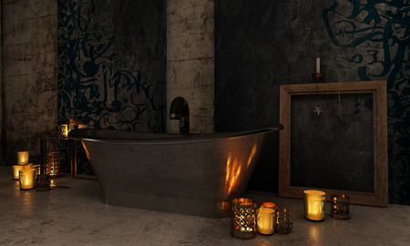 Vintage bathroom interior with burning candles lighting up the darkness and reflecting off a copper or metal bathtub in front of a fireplace. 3d Rendering.