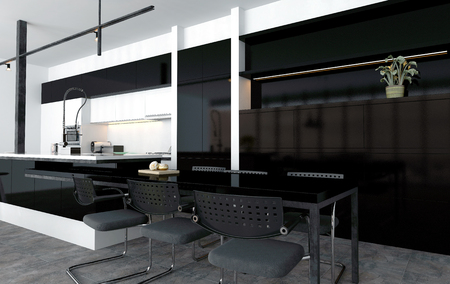 fitted: Breakfast or eating nook in a modern open-plan kitchen built onto the end of the central island with a bar counter and stools in black and grey decor, 3d rendering Stock Photo