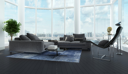 Modern luxury black and white living room interior with gray couch, carpet, leather relax lounger, floor-to-ceiling windows and dark wooden parquet floor. 3d Rendering.