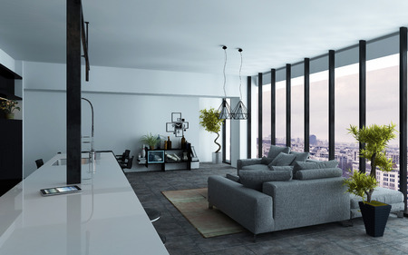 apartment building: Large open-plan living room interior with panoramic view windows and grey and white decor, view down the length of the room, 3d rendering Stock Photo