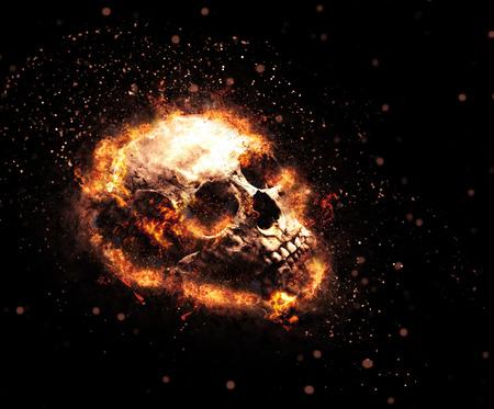 llamas de fuego: Cráneo llameante Macabre con los dientes macabros y zarcillos de llamas anaranjadas ardientes sobre un fondo oscuro, el concepto de Halloween o el infierno