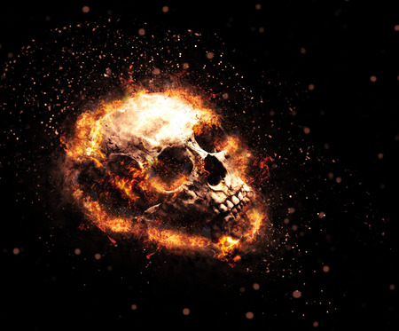 Macabre flaming skull with ghoulish teeth and tendrils of fiery orange flames on a dark background, Halloween or Hell concept