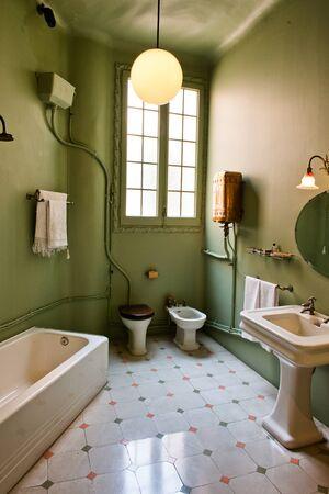 old fashioned: Green Bathroom Inside Casa Mila Decorated in Retro Style - La Perdera Interior, Barcelona, Spain