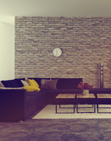 home accents: Modern living room interior with accent brick wall and an upholstered corner lounge suite in front of windows with scattered cushions on the sofa and flowers on the coffee table. 3d Rendering. Stock Photo