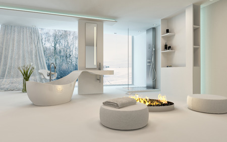 Modern Design Bathroom interior with unusual shaped bathtub, shower, a cozy warm fireplace with stools placed around and floor-to-ceiling window with a winter landscape view. 3d Rendering.