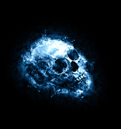 ghostly: Mythical blue toned blazing skull engulfed in flames in a ghostly spiritual artistic conceptual image on a dark background Stock Photo