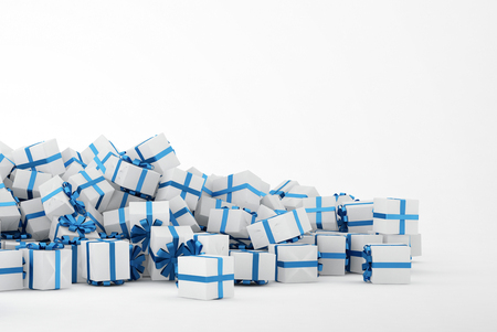 christian festival: Pile of white and blue christmas presents isolated on white background. Concept image for christmas (x-mas) or weddings. 3d Rendering. Stock Photo