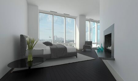 angled view: Modern bedroom interior in an angled room with large panoramic windows, a double bed and recessed built in fireplace, 3d rendering
