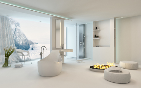 window: Luxury bright spacious bathroom interior with a cheerful circular fire in the center alongside a freestanding bathtub in front of large view window overlooking a winter garden with snow. 3d Rendering