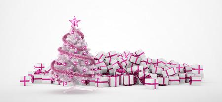 Stapel von weißen und rosa Weihnachtsgeschenke und Weihnachtsbaum auf weißem Hintergrund. Konzept-Bild für Weihnachten (x-mas) oder Hochzeiten. 3D-Rendering.