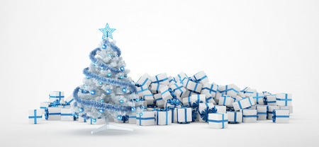white christmas tree: Pile of white and blue christmas presents and christmas tree isolated on white background. Concept image for christmas (x-mas) or weddings. 3d Rendering. Stock Photo