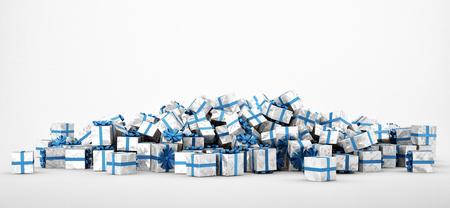Pile di bianco e blu regali di Natale isolato su sfondo bianco. Immagine di concetto per natale (x-mas) o matrimoni. Rendering 3D. Archivio Fotografico - 46059614
