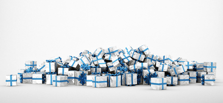 giving gift: Pile of white and blue christmas presents isolated on white background. Concept image for christmas (x-mas) or weddings. 3d Rendering. Stock Photo