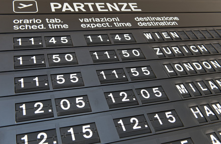 forthcoming: Departures board detail at an airport detailing information fro expected times of departure of forthcoming flights, close up angled view in a transport and travel concept Editorial