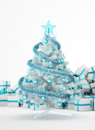 white party: Pile of white and blue christmas presents and christmas tree isolated on white background. Concept image for christmas (x-mas) or weddings. 3d Rendering. Stock Photo