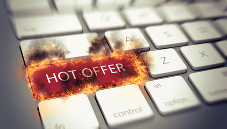 engulfed: Hot Offer concept with a flaming red key on a white computer keyboard engulfed in flames with scorching on surrounding keys with the words - Hot Offer. 3d Rendering.