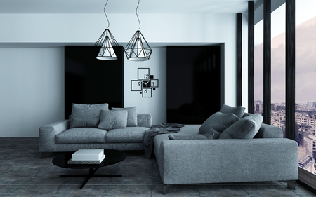 lofts: Cozy corner in a modern sitting room or living room interior with grey sofas against a wall with black accents in front of a large view window. 3d Rendering.
