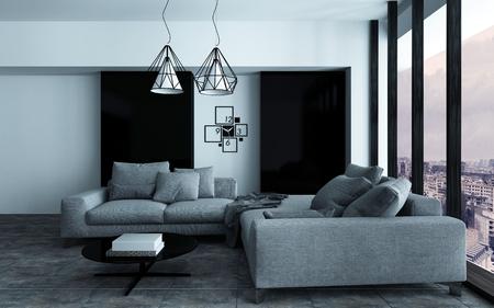 Gemütliche Ecke in einem modernen Wohnzimmer oder Wohnzimmer Innenraum mit grauen Sofas an der Wand mit schwarzen Akzenten vor einem großen Sichtfenster. 3D-Rendering. Lizenzfreie Bilder